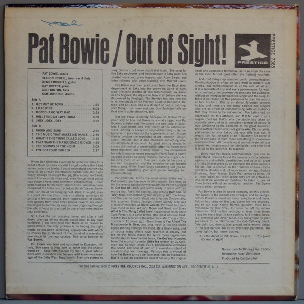 Pat Bowie Out Of Sight